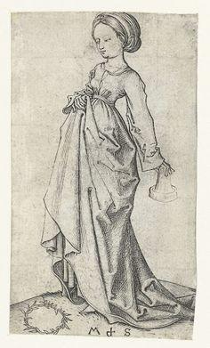 De tweede dwaze maagd, Martin Schongauer, 1470  #PublicDomain  One of the Foolish Virgins