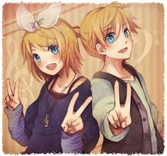 Anime picture 				1428x1340 with  		vocaloid 		kagamine rin 		kagamine len 		chizu (sweet*cheese) 		short hair 		blush 		blue eyes 		open mouth 		blonde hair 		looking at viewer 		frame 		victory 		brown 		treble clef 		girl 		male 		bow 		hair bow 		hairclip 		pendant