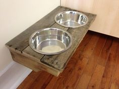 Wall mounted dog bowls made from old pallet
