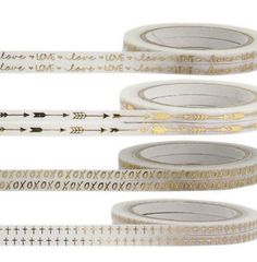 Thin Washi Tape Whole Rolls, Choose Your Designs White And Gold Foil Metallic Tape Love,XOXO,Cross,Arrow