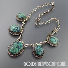 """NATIVE AMERICAN VINTAGE NAVAJO STERLING SILVER GREEN SPIDERWEB TURQUOISE CHAIN NECKLACE 17"""""""