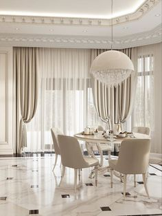 An amazing and mesmerizing design by Domoff Interirors! #designinspiration #designideas #interiordesign #interiorinspirations #designgoals #diningroom #chandelier #diningchair #marble #curtains #whitediningroom Dining Chairs, Dining Room, Dining Table, Modern Classic Bedroom, Marble, Chandelier, Design Inspiration, Interiors, Curtains
