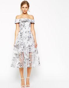 ASOS+SALON+Midi+Dress+in+Floral+Organza