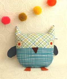 Owl  Pillow  Plushie in Retro Check and by littleteawagon on Etsy, £15.50