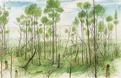 Anton Lehmden (Austrian, b. Waldstück [Forest], Watercolour on paper, 23 x cm. Anton, Landscape Paintings, Landscapes, Cactus Plants, Surrealism, Vineyard, Watercolor, Adventure, Artwork