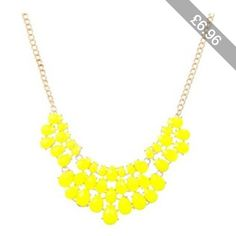 Yellow Faux Jewel Layered Polished Chain Link Necklace