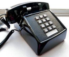 Vintage Telephone Push Button Desk Phone Black Corded Retro Office New 1980 USA  #Cortelco