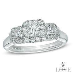2 1 10 ct t w princess cut bridal set in 14k