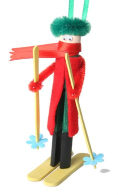 Holiday skier clothespin doll