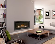 Learn more about Balanced Flue Gas Fires and Flueless Gas Fires. Fireplace Trim, Outside Fireplace, Fireplace Wall, Fireplace Ideas, Flueless Gas Stove, Flueless Gas Fires, Contemporary Gas Fires, Contemporary Gas Fireplace, Glass Fronted Gas Fire