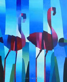 Kees van de Wetering - Flamingo ART, acryl op linnen, 50 x 60 cm Geometric Artists, Flamingo Art, Teaching Art, Bird Art, Art Techniques, Figurative Art, Painting Inspiration, Art Lessons, New Art