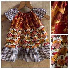 Fall Infant Peasant Dress, size 6 months by SewMeems on Etsy