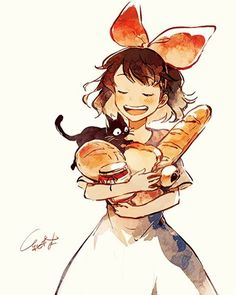 baguette black hair bow bread cat dress eyes closed food hair bow jam jar jiji (majo no takkyuubin) kiki majo no takkyuubin melon bread open mouth smile studio ghibli tsubaki - Image View - Totoro, Studio Ghibli Art, Studio Ghibli Movies, Anime Manga, Anime Art, Film Animation Japonais, Kiki Delivery, Kiki's Delivery Service, Girls Anime