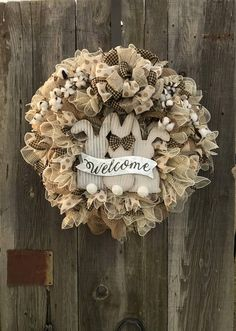 Easter/ Spring Rustic Farmhouse Wreath is Ready to SHIP! These cute cotton tails welcome sign will bring joy to all your guest throughout the Easter Holiday & Spring season.