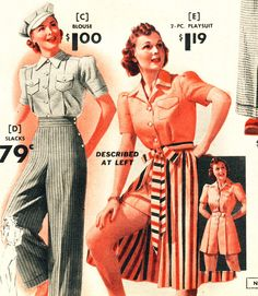 """High waisted, wide flare trousers. My favorite & most flattering on my figure.   """"What Did Women Wear in the 1940s?"""""""