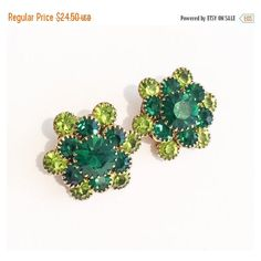 Green Rhinestone Earrings, Two Tone, Clip Ons, 1960s Vintage Jewelry... ($28) ❤ liked on Polyvore featuring jewelry, earrings, two tone jewelry, claw earrings, rhinestone stud earrings, rhinestone earrings and holiday jewelry