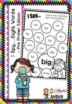 I SPY... SIGHT WORDS - PRE PRIMER EDITION - TeachersPayTeachers.com