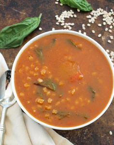 Tomato barley soup with baby greens.  Healthy comfort food at its best!