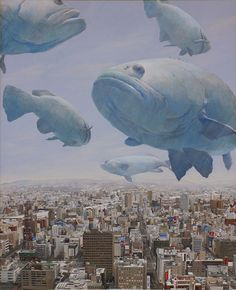 Illustration by Shaun Tan Shaun Tan, Inspiration Art, Art Inspo, Art And Illustration, Building Illustration, Paradise Painting, Fish Art, Surreal Art, Art Plastique