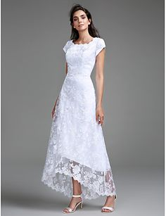 Sheath / Column Jewel Neck Asymmetrical All Over Lace Made-To-Measure Wedding Dresses with Lace by LAN TING BRIDE®