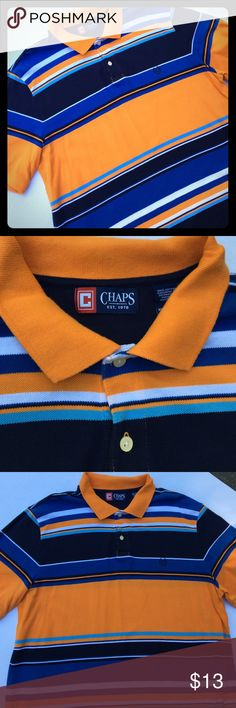 Like NEW Chaps Men's Polo Shirt Sz XL⛳️🏌 Orange w/Navy, Light Blue, Slate Blue & White Stripes. Great condition...No rips, holes or stains. Little to no fading. Please feel free to ask questions... Chaps Shirts Polos