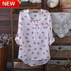 flower printed brand blouses innovative items tops women clothing blouses cute lip print shirts bk630