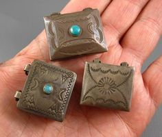 Vintage Navajo Fred Harvey Sterling Turquoise Mini Boxes Lot 3 Rare Small Size