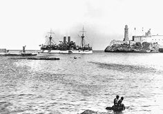 USS Maine explodes in Havana Harbor on February 15, 1898 leading to the Spanish American War.