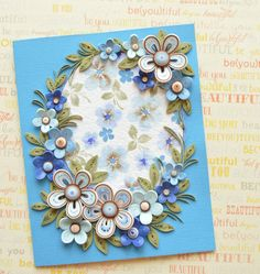 Lush Summer quilled card with stylized flowers - Quilling Card - Birthday…