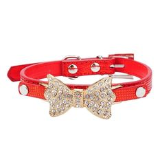 Anboo Bling Rhinestone Bow Tie Pet Cat Dog Collar Necklace Jewelry For Small or Medium Dogs Cats Pets Female Puppies Chihuahua Yorkie Girl Costume Outfits, Light and Adjustble Buckle * To view further for this item, visit the image link. (This is an affiliate link and I receive a commission for the sales)