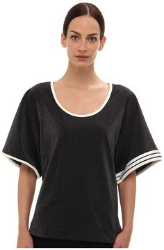 Black and White Horizontal Striped Crew-neck T-shirt by Yohji Yamamoto. Buy for $104 from Zappos Couture