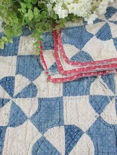 "Antique c1880 Blue White Hearts Gizzards Cutter Quilt 73"" x 59""   eBay"