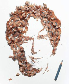 British artist Kyle Bean, best known for his intricate sculptures made out of unusual materials, has created a series of portraits from colored pencil shavings for the contributors page of Wallpaper* Handmade Kyle is a Brighton based designe. 3d Portrait, Portraits, Pencil Shavings, Pencil Art, Pencil Nails, Pencil Sharpener, Wallpaper Magazine, Of Wallpaper, Image Crayon