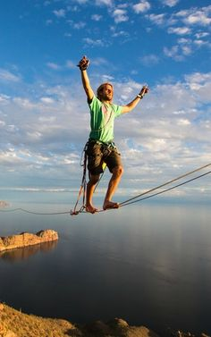 Alexander Schulz walks a 820-foot-long and 328-foot-high highline over the Cerro Tetakawi in Mexico.