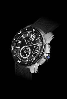 Cartier Calibre de Cartier Diver Watch - I'm nuts about this watch Big Watches, Dream Watches, Luxury Watches, Cool Watches, Rolex Watches, Watches For Men, Cartier Watches, Black Watches, Casual Watches