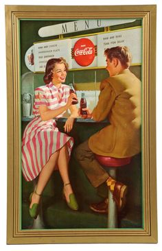 "March 30th Auction. 1948 Coca-Cola Small Vertical Poster. A more difficult poster to find. Framed: 29-1/2"" x 18-1/2"". #CocaCola #Poster #Date #Menu #MorphyAuctions"