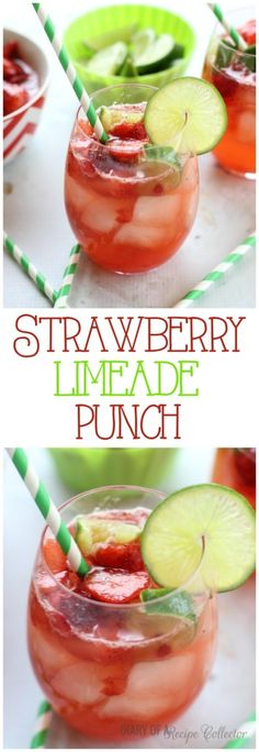 Strawberry Limeade Punch - Perfect for parties too! Diary of a Recipe Collector