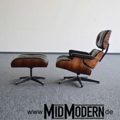 Eames Lounge Chair & Ottoman by Vitra 1992, Rosewood, black leather