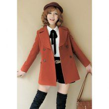 Elegant Lapel Long Sleeve Double-Breasted Coat For Women
