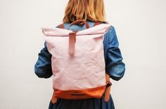 Canvas Rucksack in zartem Rosa, perfekt für den Herbst / hand waxed canvas backpack, dark pink, autumn style made by Natural Heritage Bag via DaWanda.com