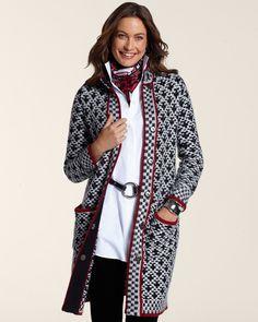 Checkered Mix Sweater Coat