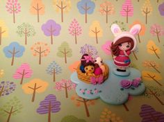 Modelage d'une héroïne de manga déguisée en bunny à l'occasion de Pâques (petit air Kawaii), par Tiffany Bienvenu.