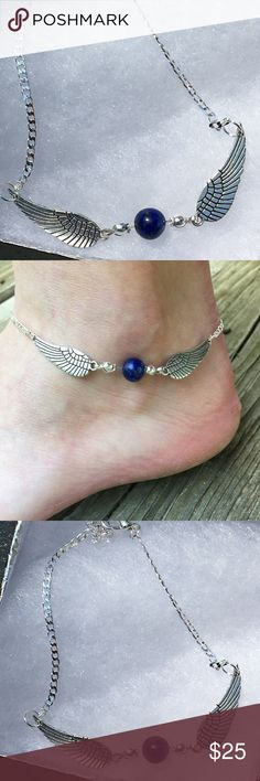 "Blue Lapis Lazuli Angel Sterling Silver Anklet This beautiful ankle bracelet is made with natural lapis lazuli and sterling silver chain. It attaches with a lobster clasp and measures about 9"" long. There is a 1"" extender, and more extensions can be added on request.   All PeaceFrog jewelry items are handmade by me! Take a look through my boutique for coordinating jewelry and more unique creations. PeaceFrog Jewelry Bracelets"
