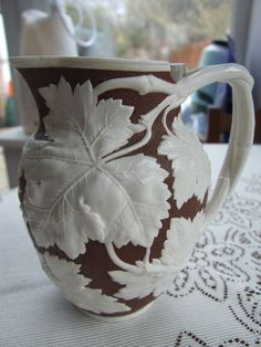 Antique Staffordshire Pottery Ivy Jug by William Brownfield Cobridge Pottery1868