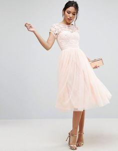 Little Mistress | Little Mistress Short Sleeve Lace Bodice MiDi Dress With Tulle Skirt