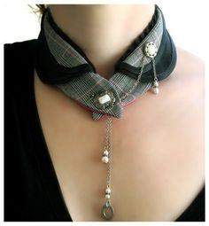 Mode Steampunk, Steampunk Fashion, Textile Jewelry, Fabric Jewelry, Collar And Cuff, Collar Necklace, Gold Collar, Diy Necklace, Gold Necklace