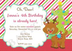 winter birthday invitation/Reindeer games/reindeer birthday invitation/ 1st birthday/winter onederland/holiday party/christmas party