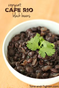 Copycat Cafe Rio Black Beans on Tone-and-Tighten.com - the perfect healthy side dish!