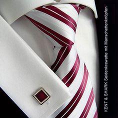 Kent+Shark Krawatte + Manschettenknöpfe 150cm