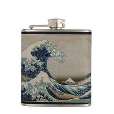 Great Wave Off Kanagawa Vintage Art Flask #kanagawa #wave #tsunami #japan #japanese #vintage #art #flasks